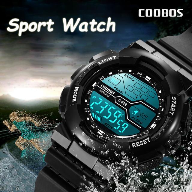 Trend Men's Sports Digital Watch Military Waterproof Mens Watches  LED Luminous WristWatch Male Casual Rubber Clock reloj hombre