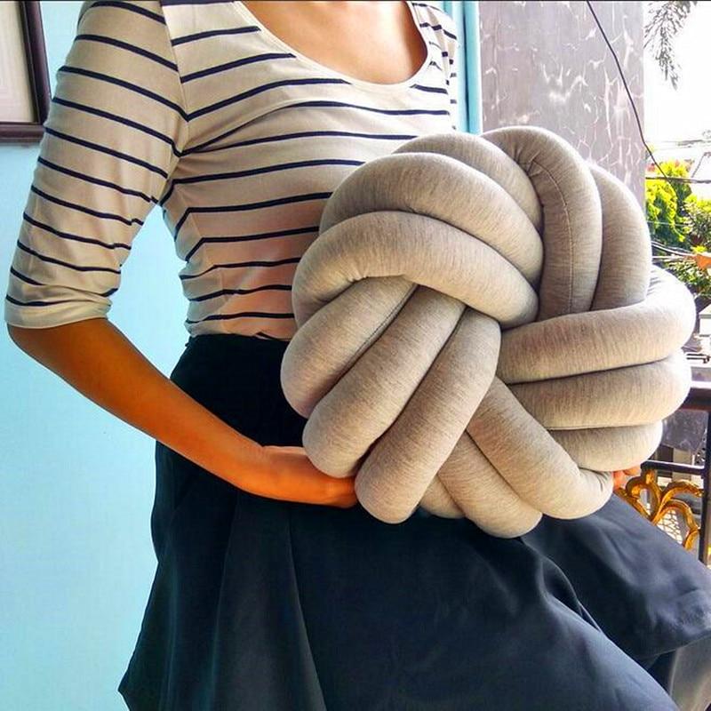 Soft Bedding Pillow Comfortable Knotted Pillow Home Decor Ball Design Round Pillow Nordic Handmade Woven Waist