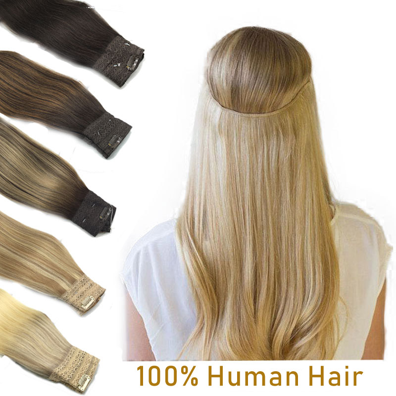 Extensões de cabelo de auréola reta invisível peixe linha extensão do cabelo humano bandana natural escondido segredo fio uma peça remy cabelo