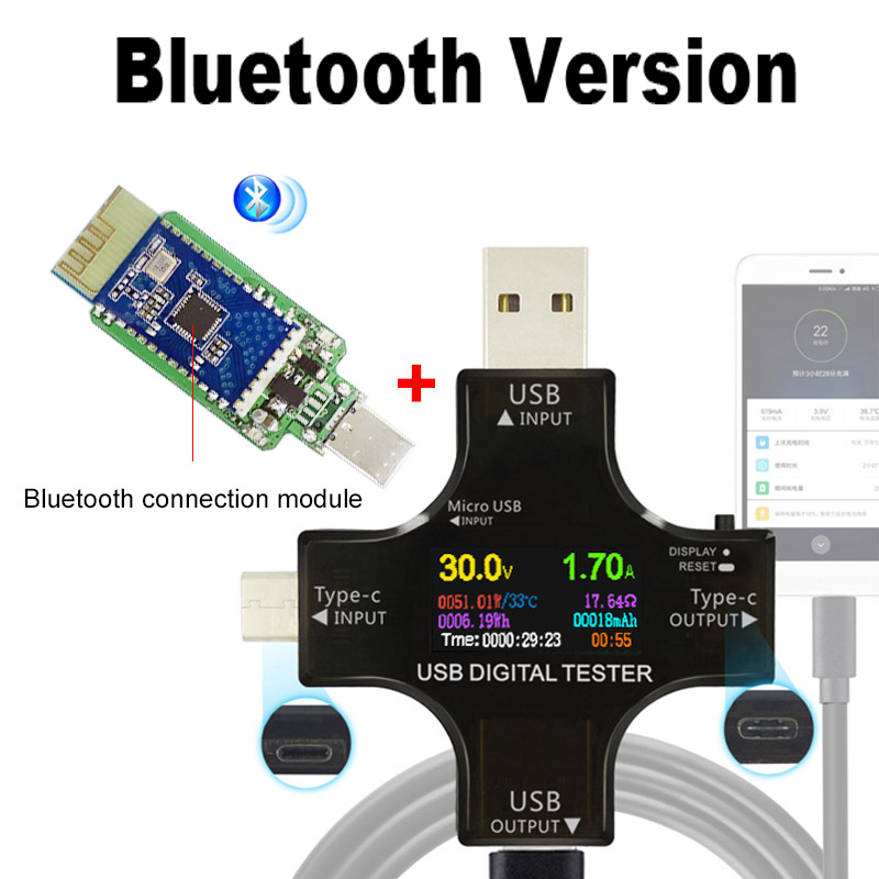 Color TFT USB Tester Bluetooth Type-C PD Digital Voltmeter Voltage Current Meter Ammeter Detector Power Bank Charger Indicator