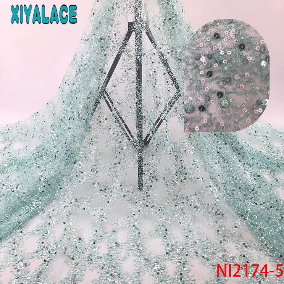 African Lace Fabric French,Sequence Tulle Lace Fabric,Nigerian Latest Lace Fabric 2019 For Wedding Dresses KSNI2174-5