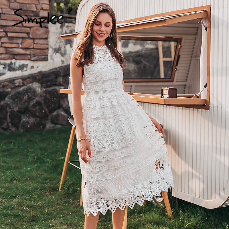 Simplee Elegant sleeveless women white dress Casual white embroidery female long sundress Summer style ladies maxi dress 2020