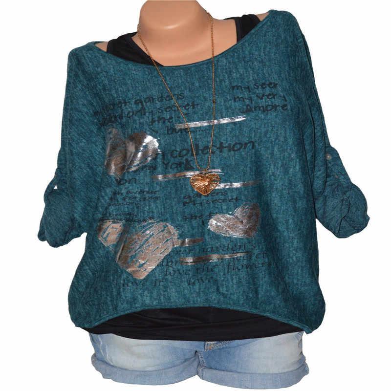 Donna Fashion Scoop Neck Una Spalla Pipistrello Roll Up Manica Lunga Hi-lo T shirt Pullover Magliette E Camicette