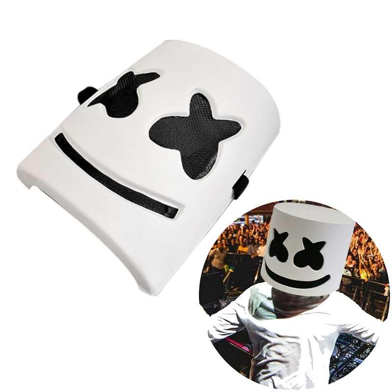 1PCs DJ Marshmallow Cosplay Plastic Mask DJ Mello Cos Halloween Headgear Adult Cosplay Night Club Party Bar Costume Accessories