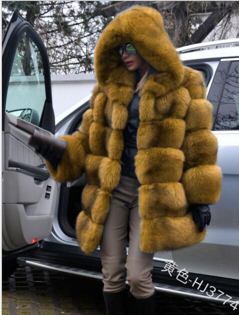Hiver fausse fourrure manteau nouvelle mode pardessus femme moyen Style col montant fourrure de renard en vrac Imitation fourrure vestes grande taille S-4XL - 3