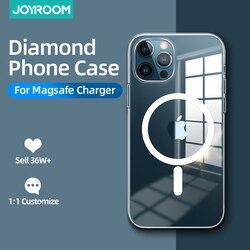 Magnectic caso para iphone 12 pro max 12 mini caso para magsafe carregamento sem fio à prova de choque proteção completa caso pc + tpu joyroom