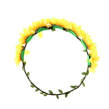 Sunflower Headband Floral Flower Crown Hair Band Hair Wreath Headpiece