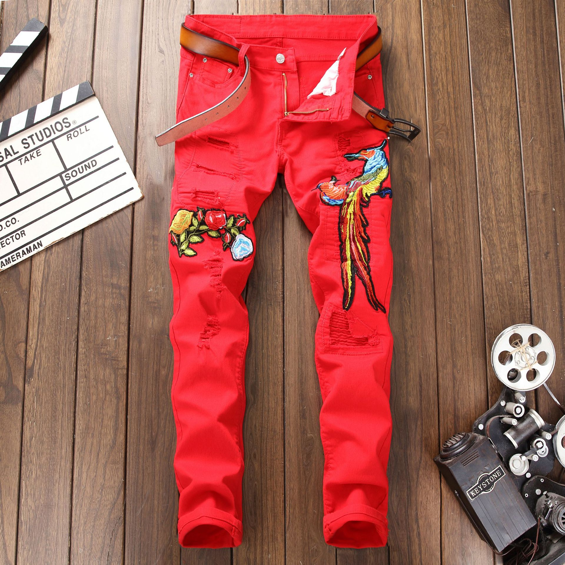 Men's European And American Style Fashion With Holes Jeans Red Elasticity Slim Fit Embroidered Phoenix Trousers