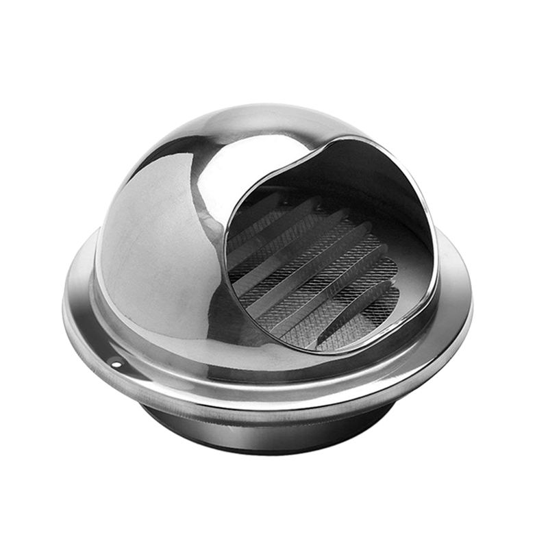 2 Piece 201 Stainless Steel Round Bullnose External Extractor Wall Vent Outlet 4 Inch