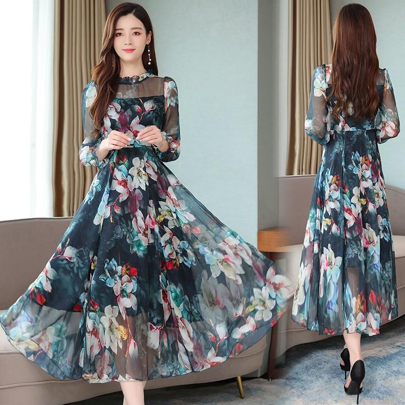 Long Sleeve Ruffle Silk Dress Floral Chiffon Thin Waist Beach Large Swing High Quality Dress Sheer Purple Blue Green Red
