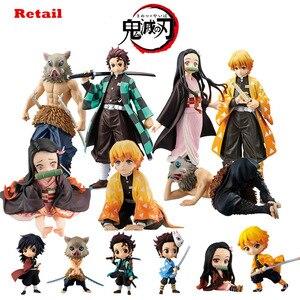 Image 1 - Фигурка Kimetsu no yaiba, фигурка nezuko tanjirou zenitsu, аниме фигурка рассекающего демонов, экшн фигурка из ПВХ, коллекционные модели, игрушки, подарки, 6,5 18 см