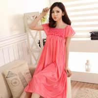 Пижамы женские летние вискозные короткий рукав сексуальный корейский стиль шелковое платье принцессы средней длины платье свободного кро...