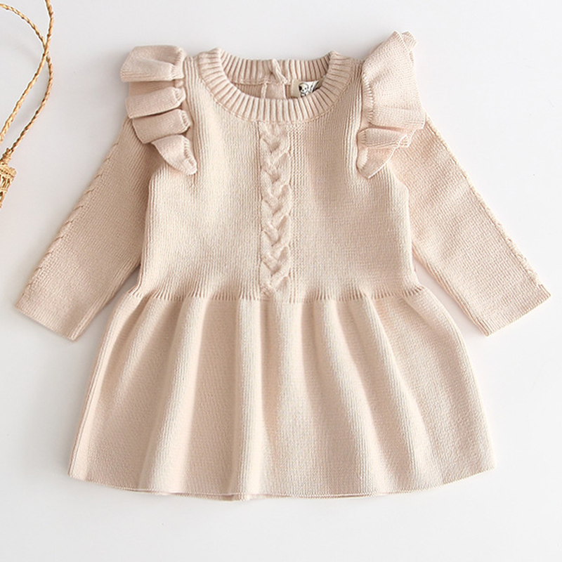 Winter Knitted Dress Autumn Toddler Girl Dresses For Female Babies Infant Warm Dress Knitted Sweater Kids Dresses For Girls 5