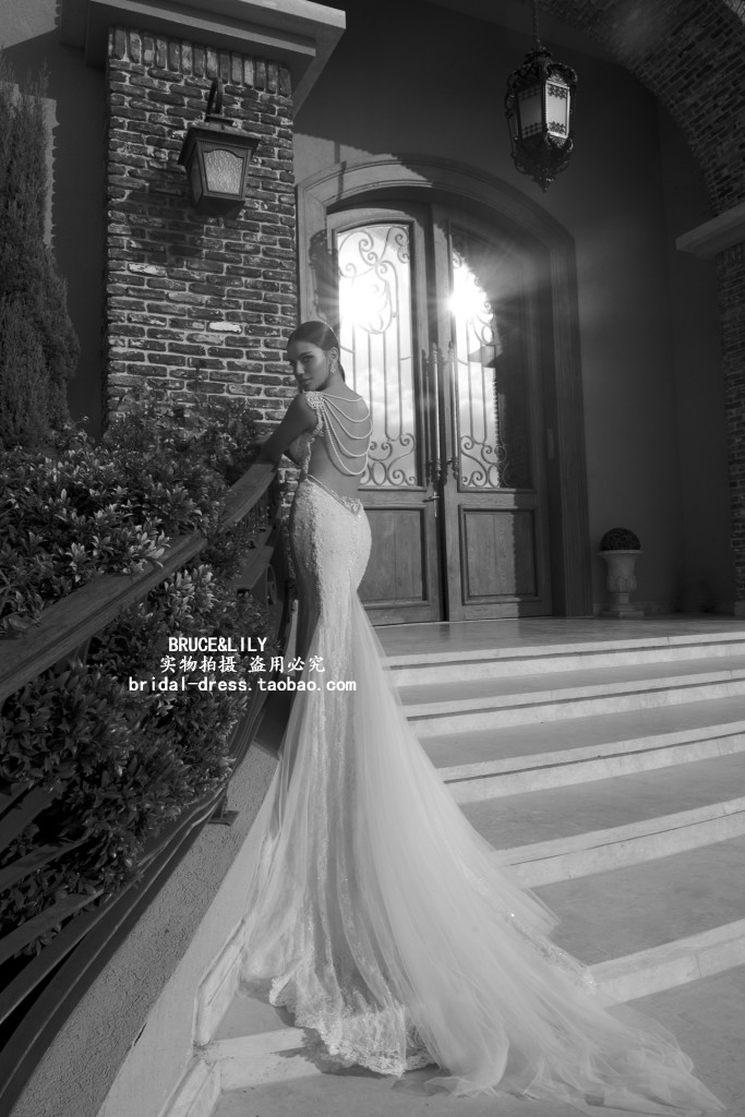 free shipping casamento vestido de noiva renda sexy backless pearls romantic 2016 new fashionable lace wedding dress bridal gown