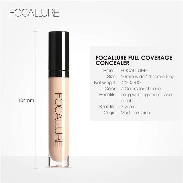 FOCALLURE Full Coverage Makeup Liquid Concealer Convenient Eye Concealer Cream Waterproof Make Up Base Cosmetic Concealer 5
