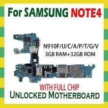 لسامسونج غالاكسي نوت 4 N910F N910C N910U N910A N910P N910V N910G N910T اللوحة 32 جيجابايت فتح اللوحة الرئيسية رقاقة كاملة أندرويد OS