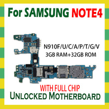 For Samsung Galaxy Note 4 N910F N910C N910U N910A N910P N910V N910G N910T Motherboard 32GB Unlock Mainboard Full Chip Android OS