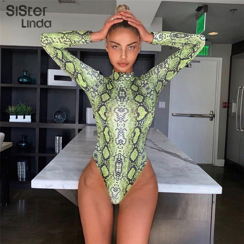 Sisterlinda Sexy Snake Grain Print Bodysuit Women Rompers Full Sleeve Neon Jumpsuit Mujer 2019 New Autumn Fashion Basic Playsuit