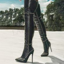 LAIGZEM Studds Over Knee High Women's Boots Back Zip Stilett