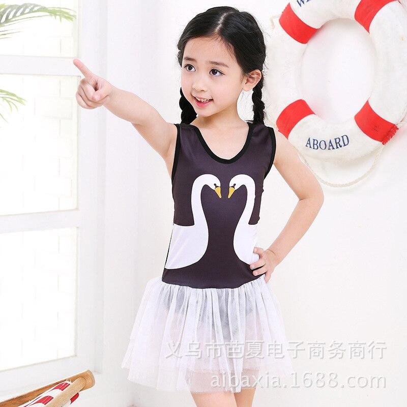 New Style Baby Big Boy Swimwear Flamingo Swan GIRL'S Tour Bathing Suit KID'S Swimwear Girls One-piece Boxer