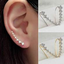 Wanita Fashion Line Berlian Imitasi Anting-Anting Telinga Hook Klip Stud Perhiasan Anting-Anting Telinga Hook Klip Stud Anting-Anting Anting-Anting Lingkaran(China)