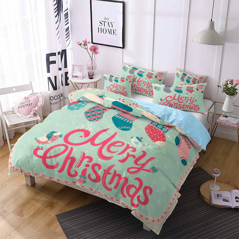 Christmas Stocking Hanging Bird Soft Bedding Sets Kids Girls Winter Comforter Set Bedspreads Bed Set Single Queen Duvet Cover