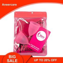 Coletor Menstrual 2 uds grado médico silicona higiene Copas Menstruales menstruación mujer Copa Mestral Aneercare Coupe Menstruell S + L