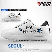 Pgm детская ультра-светильник для игры в гольф, обувь для девочек, обувь для мальчиков, на мягкой подошве Водонепроницаемый обувь для игры в гольф с принтом маленькие белые кроссовки D0757