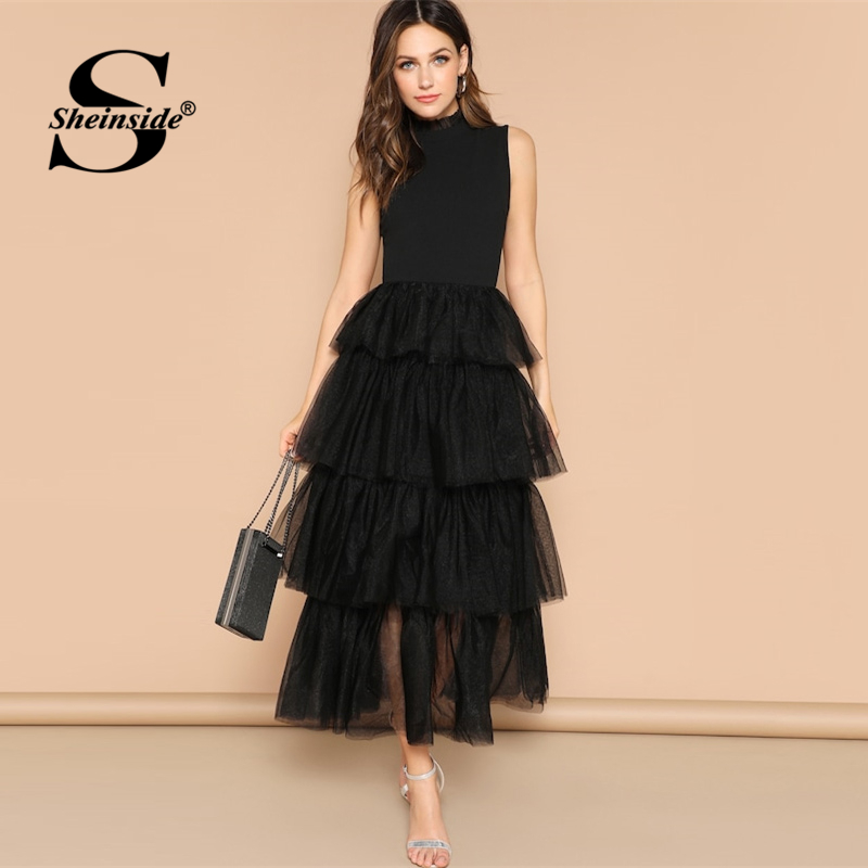 Sheinside Black Sleeveless Layered Contrast Mesh Ruffle Hem Party Dress Women 2019 Summer Elegant Frilled Neck Maxi Dresses