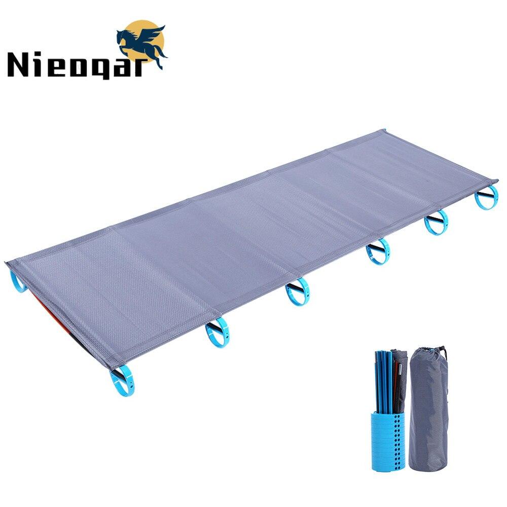 Alliage d'aluminium pliant lit simple Camping chaise de couchage étanche à l'humidité Pad extérieur Portable lit de couchage avec sac de rangement