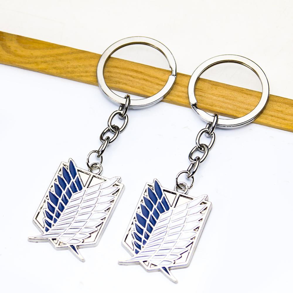 Attack On titan эмаль крылья черный, белый цвет синий с металлическими мини гигантский Легион флага значок металический брелок для ключей с кулон, ...