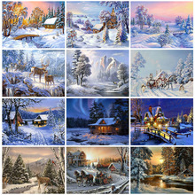 Huacan Full Square Diamond Painting Snow Scene Mosaic Landscape Picture Rhinestone Home Decor
