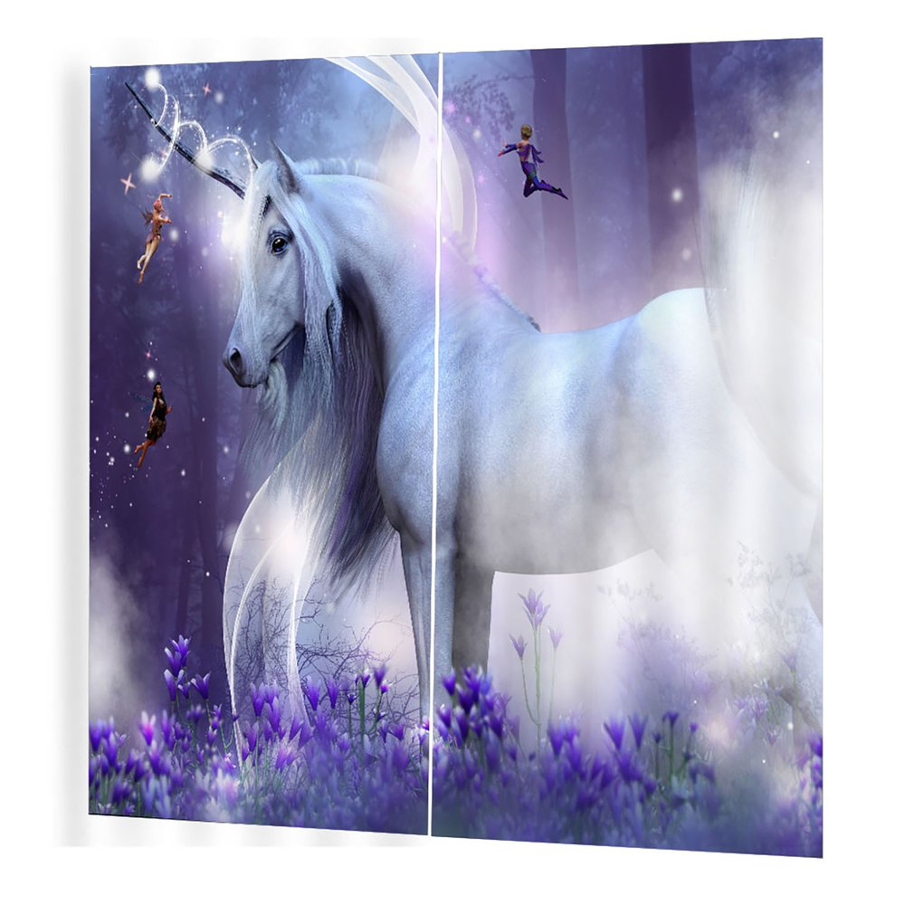 Curtains-Room Window-Drapes Blackoutdreamy-Horse Bedroom Prints Trendy 150--166cm title=