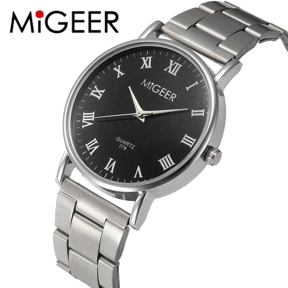 MIGEER New Fashion Watches Men Stainless Steel Men's Watch Quartz Clock Simple Design Men's Watches Montre Homme Gift For Men