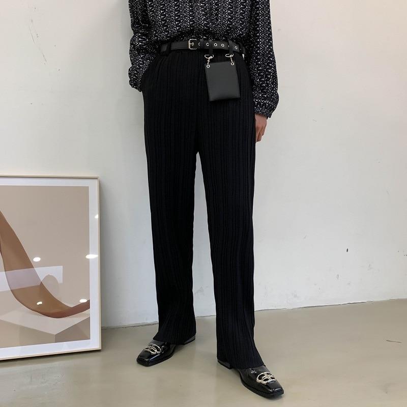 Men Women Contain Rivet Bag Draped Folds Casual Pant Male Japan Korea Streetwear Long Straight Trousers Pleated Full Length Mid