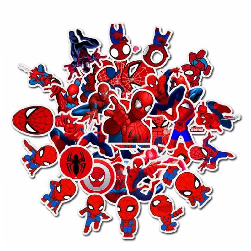 35pcs Cartoon Super Hero Spiderman Stickers Anime Graffiti Sticker To DIY Luggage Laptop Skateboard Motor Bicycle Guitar Fridge