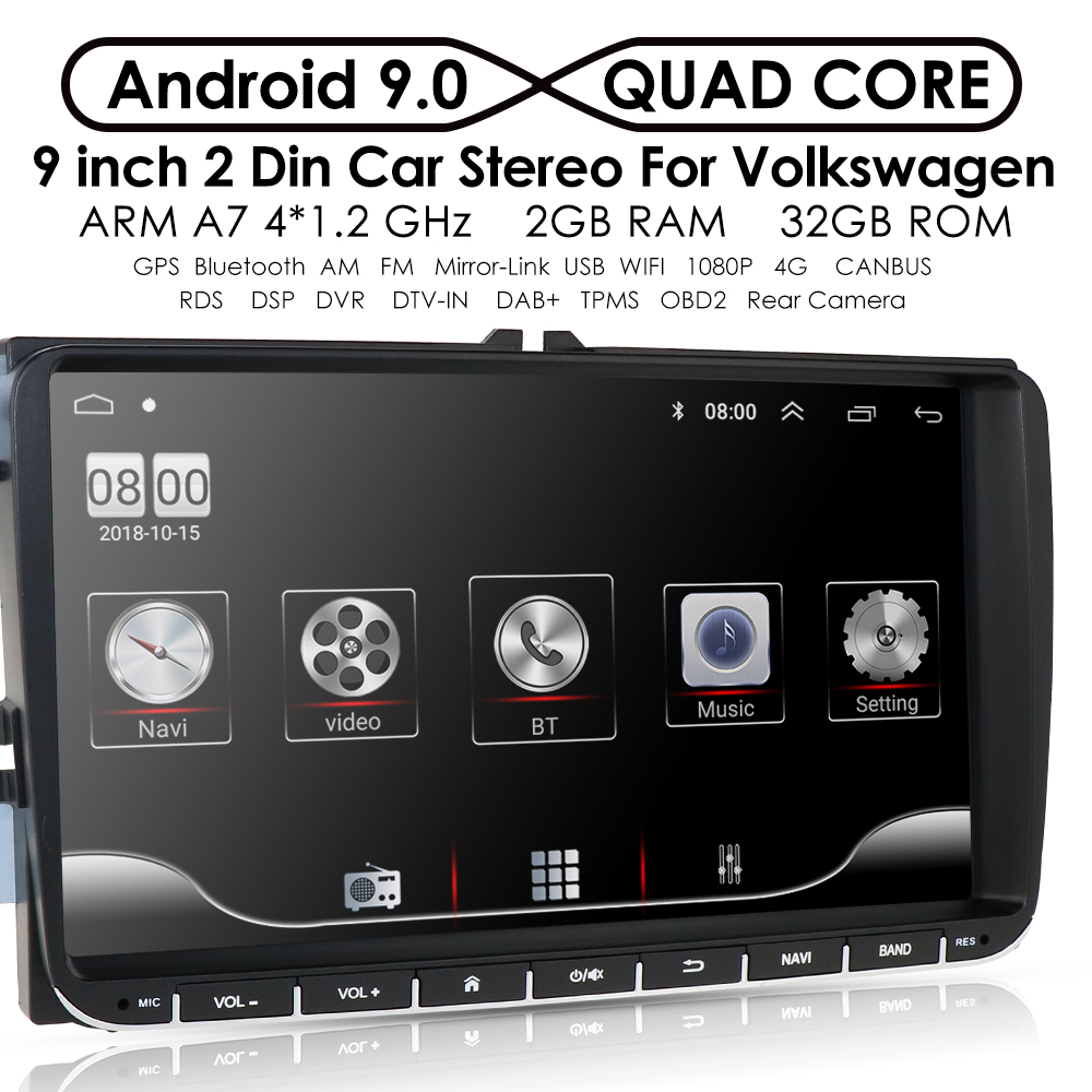 2Din Car Multimedia Player Android 10.0 GPS for VW Golf Passat Tiguan Skoda Fabia Rapid Seat Leon Skoda RDS Steel Wheel Control image