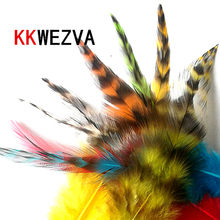 KKWEZVA 50PCS/Lot Colors Reed Black and White Combo Chicken Feather For Fly tying Material / DIY Fly Fishing Insect Lure