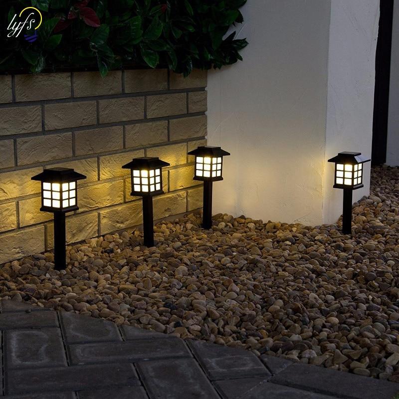 2 pçs/lote Lanterna Solar Gramado Lâmpadas Ao Ar Livre Jardim Solar Spotlight Paisagem Caminho Retro luz Subterrânea Solar