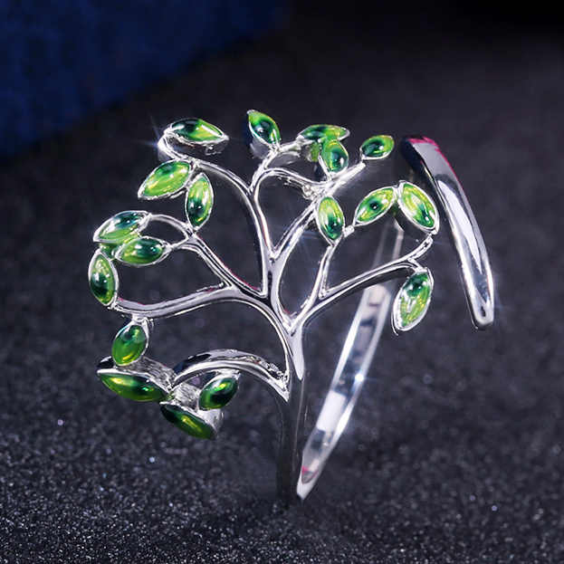 HUITAN New Come Branches Twig Design Party Women Rings Natural Spring Green Life Stylish Women Jewelry Wholesale Lots&Bulk