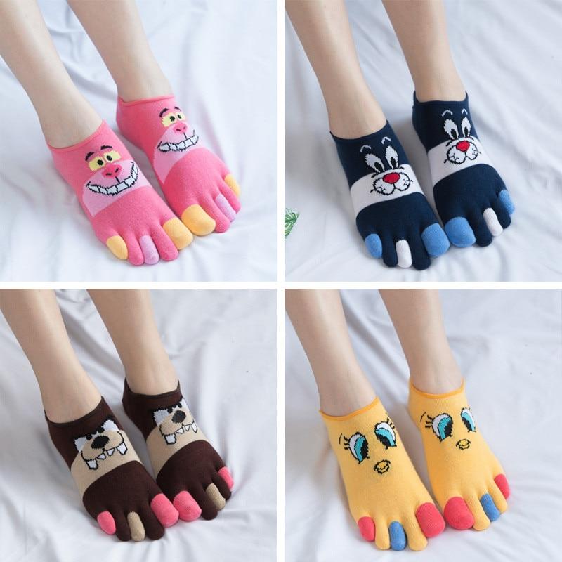 4 Pairs Women Five Finger Socks Cotton Cartoon Invisible Lovely Boat Socks Split Toe