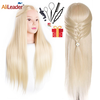Alileader New Head Dolls For Hairdressers 65Cm Hair Synthetic Mannequin Hairstyles Hairdressing Practice Training Doll