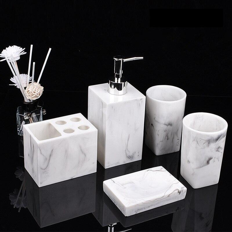 Resin Marble Bathroom Accessories Set, Marble Bathroom Accessories Sets