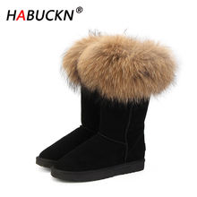 HABUCKN 2020 Natural Real Fox Fur Women's Winter Snow Boots Warm Long Boots Genuine Cow Leather High Winter Boots Women Shoes 100% natural fur women boots winter warm shoes genuine sheepskin snow boots warm wool women ankle boots