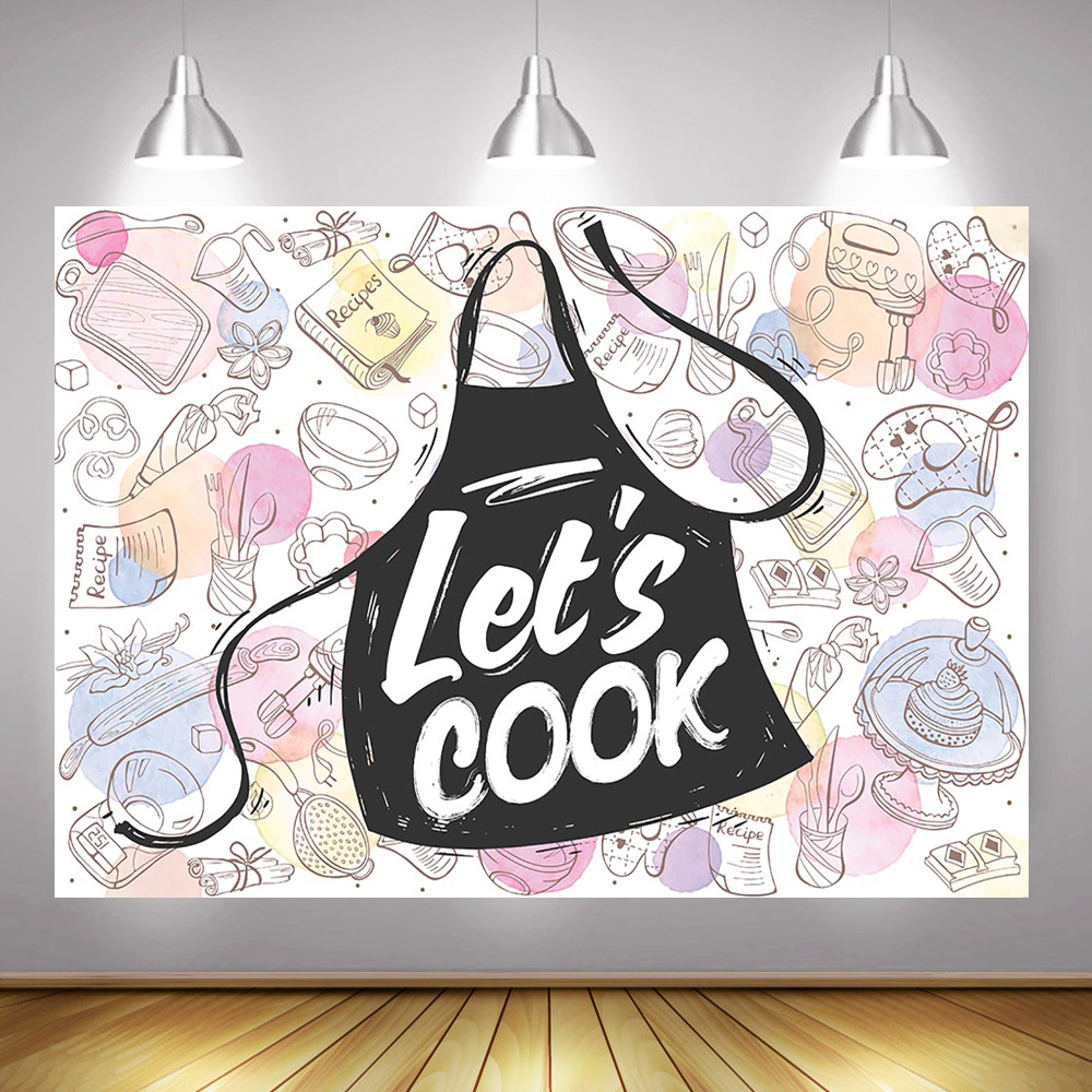 Let S Cook Theme Party Decoration Photography Backdrop Cooking Black Apron Tableware Banner Photo Background Supplies Props Background Aliexpress
