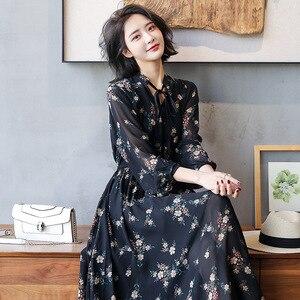Image 3 - 2020 długie kobiety sukienka wiosna eleganckie Balck sukienki w kwiaty linia elastyczna talia szyfonowa luźna długość kostki damska sukienka