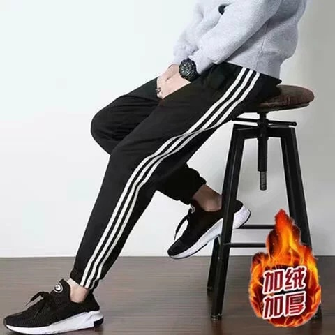 2018 Autumn And Winter Thick Plus Velvet Athletic Pants Fashion Man Trousers Casual Korean-style Slim Fit Beam Leg Knitted Men's