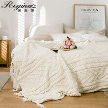 REGINA Brand Chenille Knitted Blankets Scandinavian Style Heart Twist Tassel Design Soft Bedspread Warm Thick Blanket For Bed