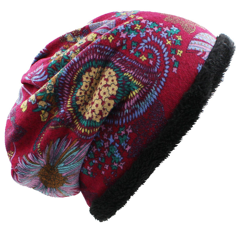 Warm Women Skullies Beanies Fashion Autumn Winter Vintage Design Dual-Use Hats for Ladies Girl Scarf