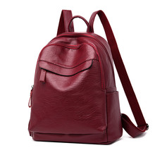 Simple Style Large Women Backpacks High Quality PU Leather Female Backpack School Backbag For Girl Travel  bag mochila feminina